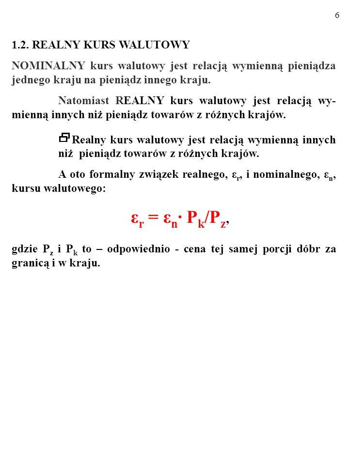 46 Wszak: ε r /ε r =(ε n /ε n )(π k /π z )*, więc przy stałym kursie realnym, ε r /ε r =1: (ε n /ε n )(π k /π z )=1.