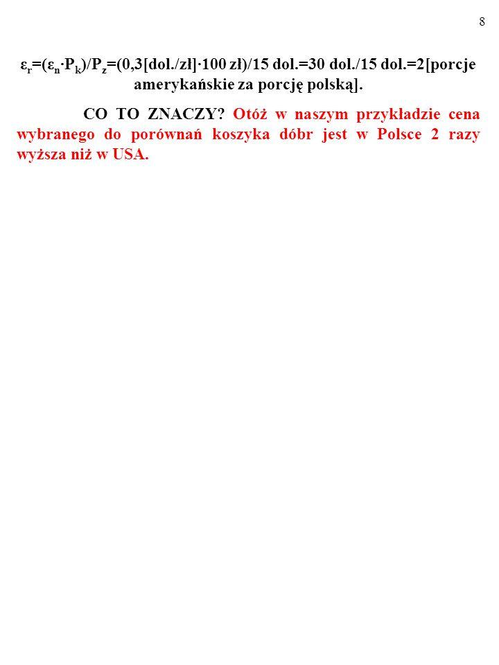 8 ε r =(ε n P k )/P z =(0,3[dol./zł]100 zł)/15 dol.=30 dol./15 dol.=2[porcje amerykańskie za porcję polską].