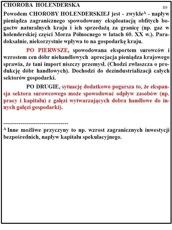 88 CHOROBA HOLENDERSKA Powodem CHOROBY HOLENDERSKIEJ jest - zwykle A - napływ pieniądza zagranicznego spowodowany eksploatacją obfitych bo- gactw naturalnych kraju i ich sprzedażą za granicę (np.