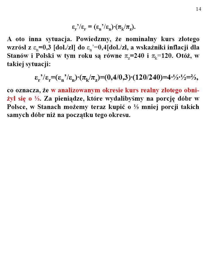 13 ε r /ε r =(ε n /ε n )(π k /π z )=(0,2/0,3)(240/120)=2=1. W takiej sytuacji mówimy, że trwa REALNA APRECJACJA wa- luty krajowej. (Przecież międzynar