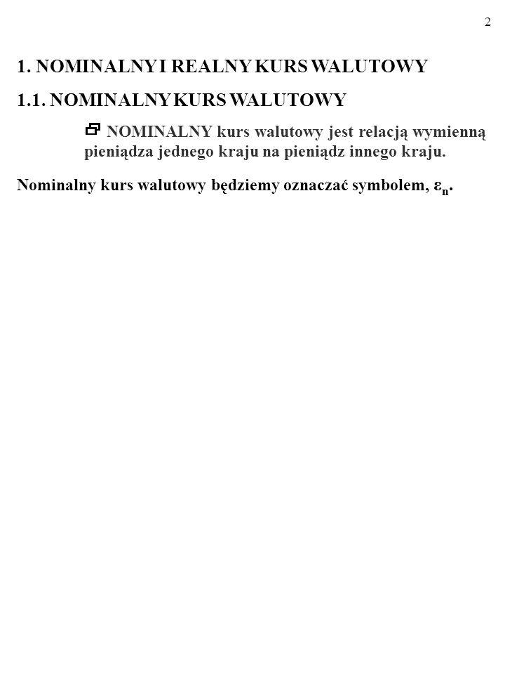 2 1.NOMINALNY I REALNY KURS WALUTOWY 1.1.
