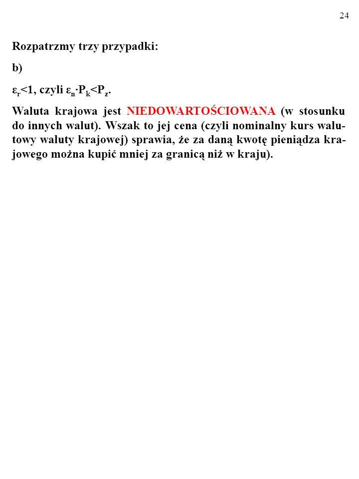 23 a) ε r >1, czyli ε n P k >P z. Kurs walut nie odpowiada ich parytetowi siły nabywczej. Towary krajowe NIE SĄ konkurencyjne cenowo w porównaniu z to