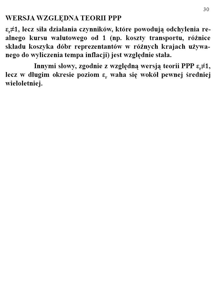 29 2.3. ABSOLUTNA I WZGLĘDNA WERSJA TEORII PPP Teoria PPP ma dwie wersje: ABSOLUTNĄ (mocniejszą) oraz WZGLĘDNĄ (słabszą). WERSJA ABSOLUTNA TEORII PPP