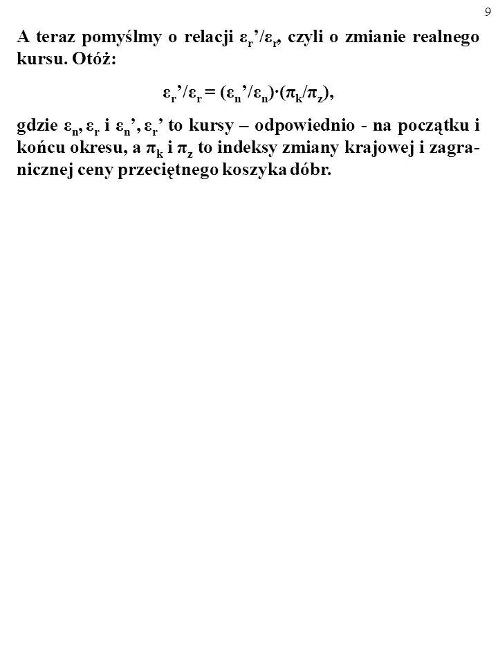 19 Zauważmy, że jeśli nominalny kurs walutowy dwóch walut odpowiada parytetowi ich siły nabywczej, kurs realny jest równy ε r =1.