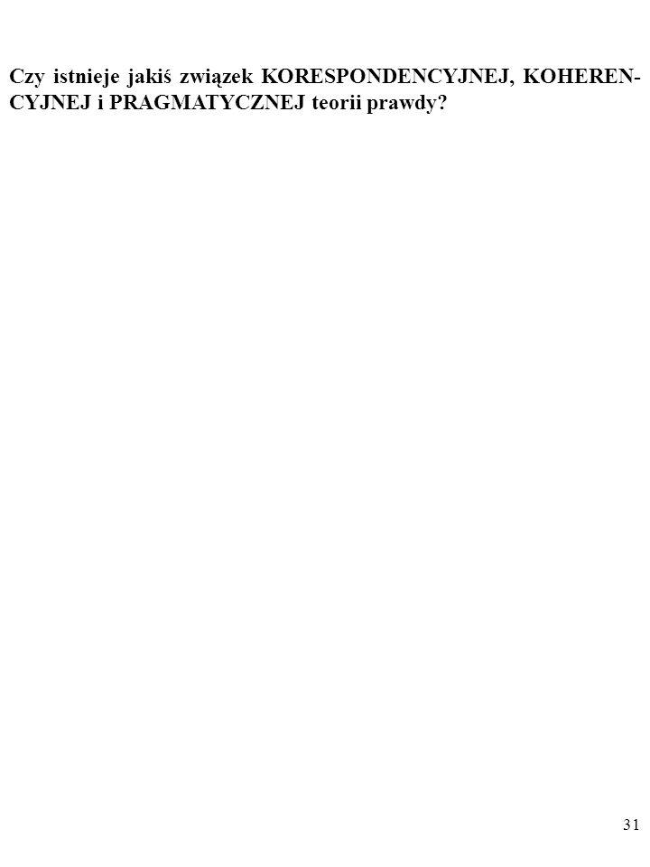 30 DYGRESJA CD. PRAGMATYCZNA teoria prawdy Ajdukiewicz: Za (…) ostateczne kryterium (prawdziwości twierdzeń – B. Cz.) uważa (…) pragmatyzm (w swej rad