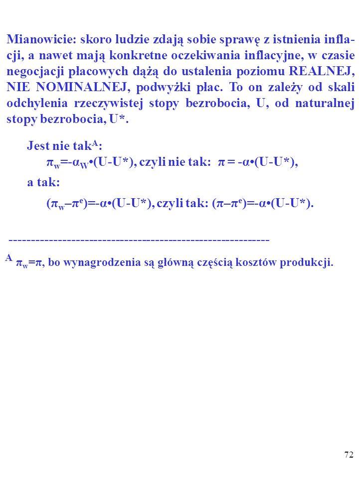 71 Ludzie mają ADAPTACYJNE OCZEKIWANIA INFLACYJ- NE, jeśli sądzą, że TEMPO INFLACJI W PRZYSZŁOŚCI (π e ) BĘDZIE PODOBNE DO OBECNEGO TEMPA INFLACJI (π)
