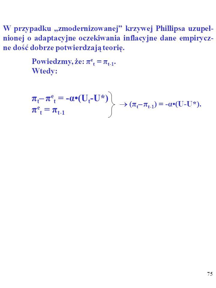 74 (π–π e )=-α(U-U*) WNIOSKI: 2. Natomiast jeśli U>U*, to (π–π e )< 0, więc π<π e, czyli ceny zaczną rosnąć WOLNIEJ NIŻ SIĘ SPODZIEWANO.