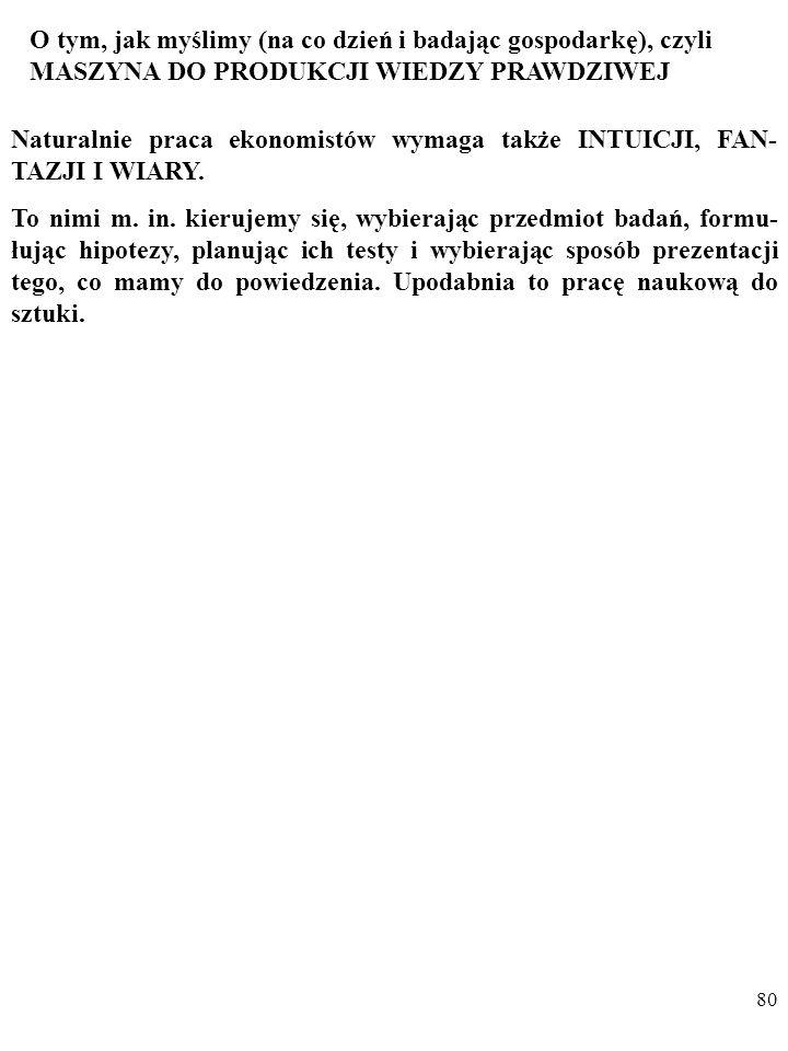 79 O ZASADZIE EKONOMII MYŚLENIA (KRYTERIUM PROSTO- TY ) W NAUCE (BRZYTWA OCKHAMA)… William Ockham (c. 1287-1347) Nie należy mnożyć bytów bez potrzeby.