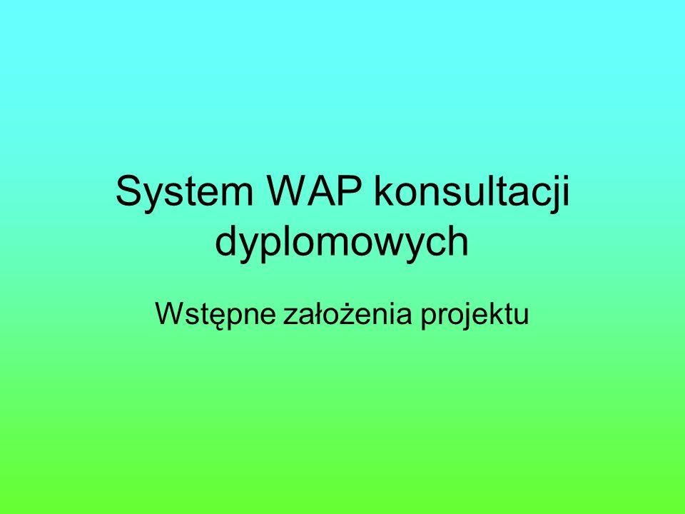 System WAP konsultacji dyplomowych Wstępne założenia projektu