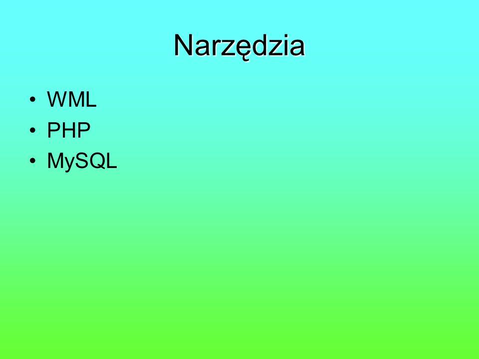 Narzędzia WML PHP MySQL