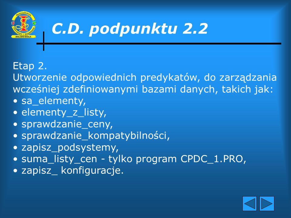 2.2 Poszczególne etapy rozwiązania problemu Etap 1. Utworzenie baz danych do przechowywania : ceny progowej konfiguracji - programy CPDC_1, CPDC_2 cen