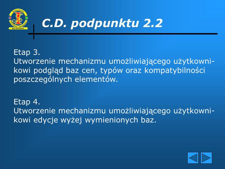 C.D. podpunktu 2.2 Etap 2. Utworzenie odpowiednich predykatów, do zarządzania wcześniej zdefiniowanymi bazami danych, takich jak: sa_elementy, element