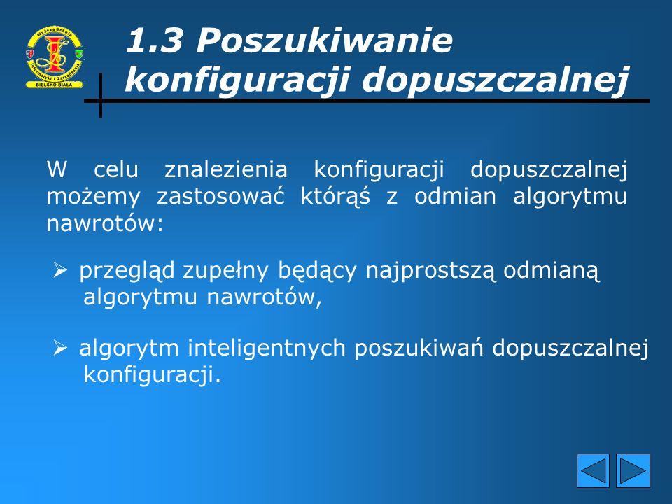 C.D. podpunktu 1.2 Konfiguracja dopuszczalna – jest to konfiguracja spełniająca wszystkie ograniczenia (kompaty- bilności elementów konfiguracji oraz