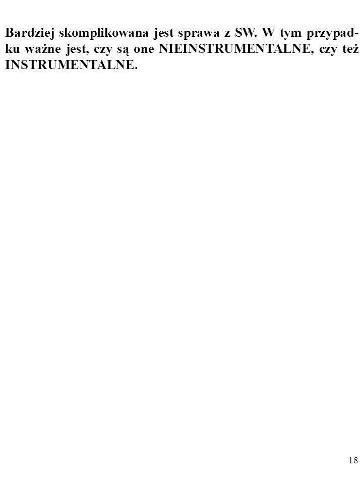 17 Dodam, że w przypadku nieinstrumentalnych SW mamy do czynienia z opisywanym jeszcze przez Miltona Friedmana w słynnym artykule On the Methodology o