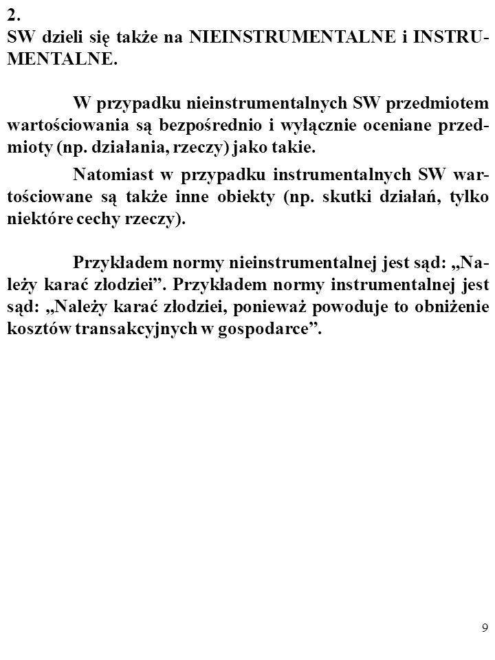 8 1. Rozróżnia się takie SW, które są NORMAMI (zaleceniami), a także takie, które są OCENAMI. NORMY dotyczą działań i odpowiadają na pytania w rodzaju
