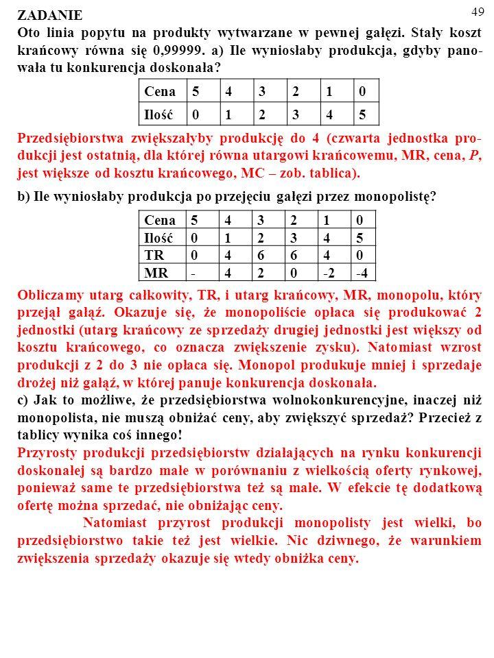 48 MONOPOL PRODUKUJE MNIEJ I SPRZEDAJE DROŻEJ NIŻ GAŁĄŹ WOLNOKONKURENCYJNA MC=AC=S P,MR,AC,MC, D 0 Q PMPM PCPC MR QCQC QMQM A E B