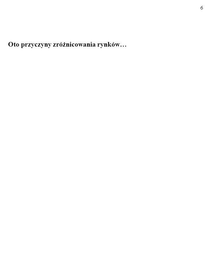RYNKI RÓŻNIĄ SIĘ OD SIEBIE. SĄ RÓŻNE RYNKI… Na przykład: - Poczta Polska (na rynku listów o wadze do 50 gramów) - Play, Era, Plus, Orange - Koreptycje