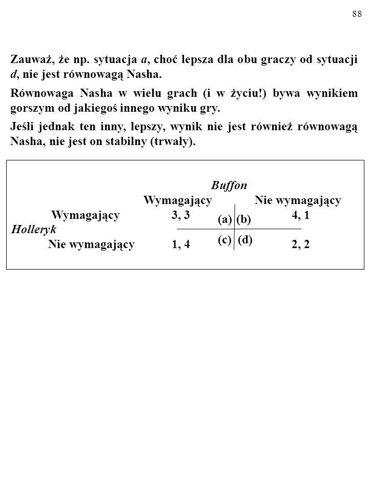 87 RÓWNOWAGA NASHA Równowagą Nasha (od nazwiska matematyka Johna Nasha, ur. 1924) nazywamy stan, kiedy KAŻDY Z GRACZY WYBRAŁ OP- TYMALNĄ DLA SIEBIE ST