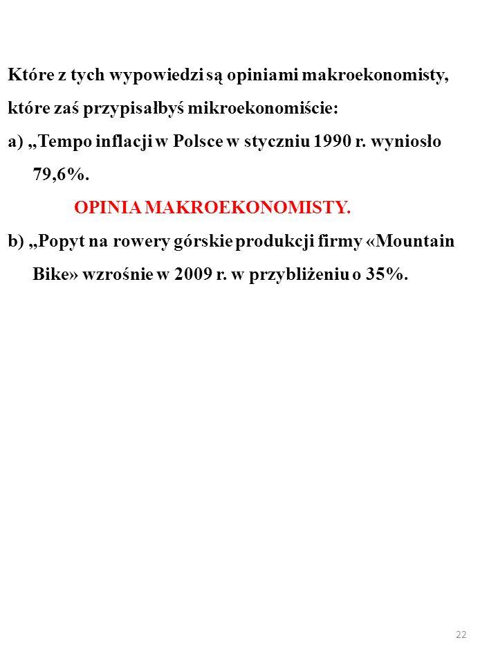 21 ZADANIE Które z tych wypowiedzi są opiniami makroekonomisty, które zaś przypisałbyś mikroekonomiście: a) Tempo inflacji w Polsce w styczniu 1990 r.