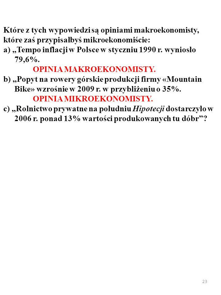 22 Które z tych wypowiedzi są opiniami makroekonomisty, które zaś przypisałbyś mikroekonomiście: a) Tempo inflacji w Polsce w styczniu 1990 r. wyniosł