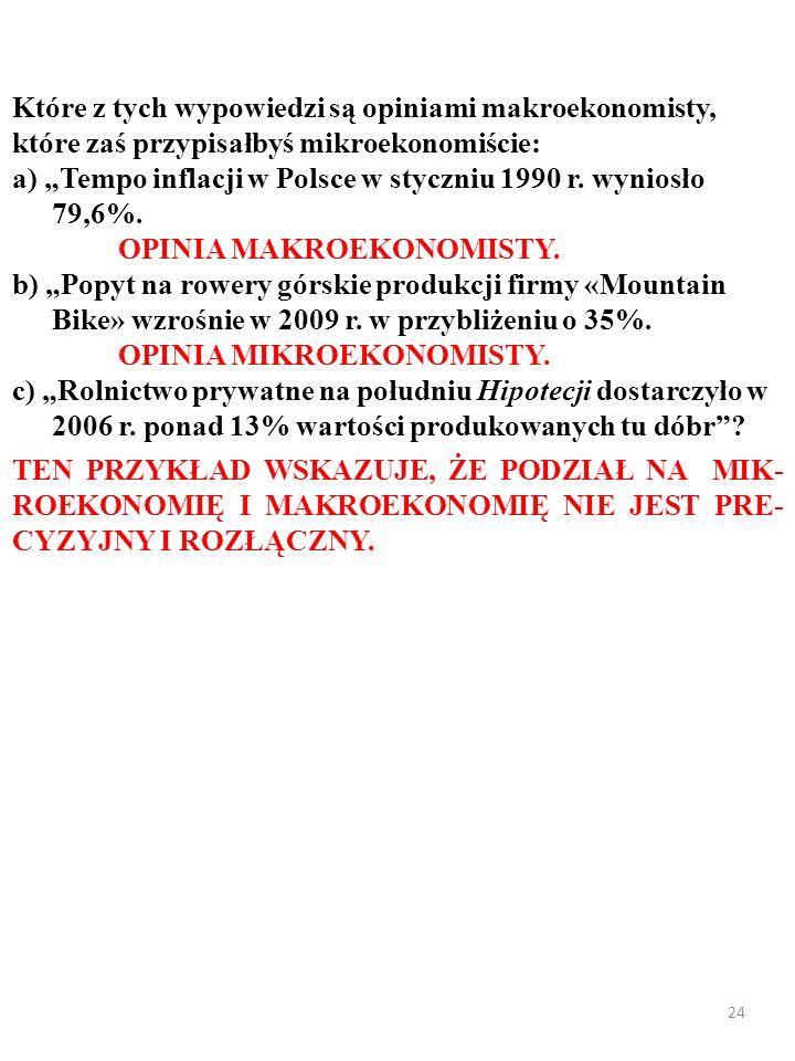23 Które z tych wypowiedzi są opiniami makroekonomisty, które zaś przypisałbyś mikroekonomiście: a) Tempo inflacji w Polsce w styczniu 1990 r. wyniosł