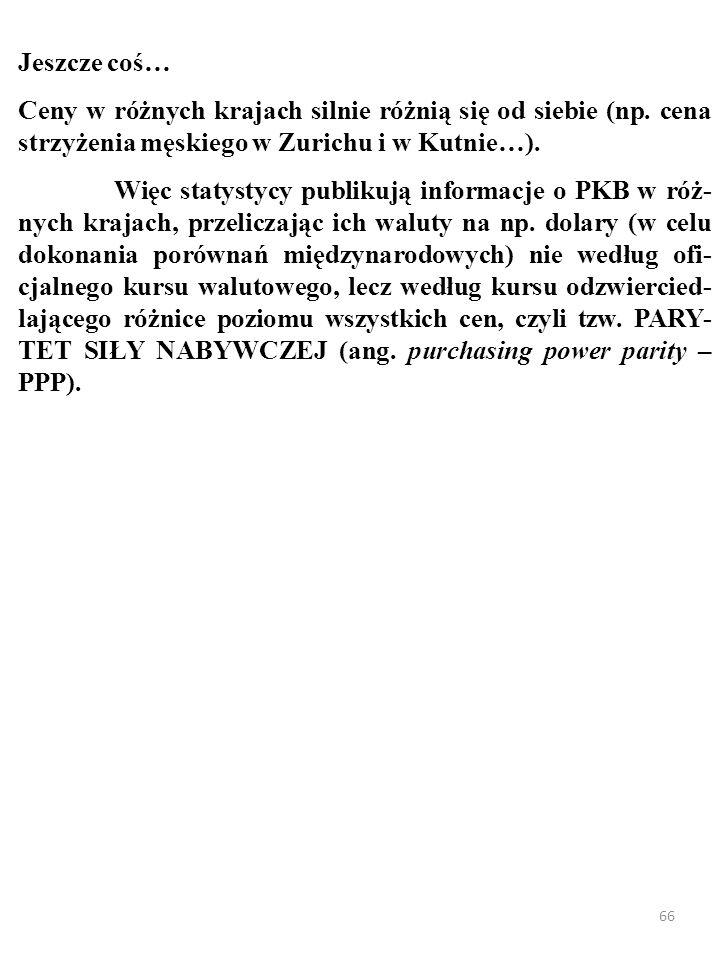 65 Jeszcze coś… Ceny w różnych krajach silnie różnią się od siebie (np. ce- na strzyżenia męskiego w Zürichu i w Kutnie…).