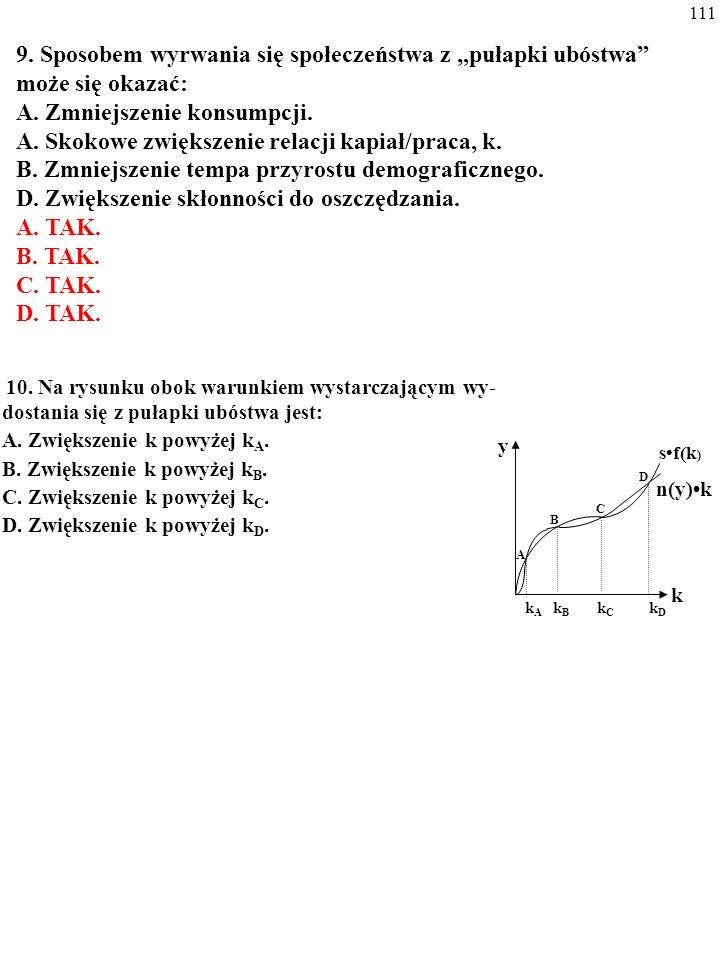 110 8. Na rysunku obok: A. Punkt A jest stabilnym stanem wzrostu zrównoważo- nego. B. Punkt C odpowiada pułapce ubóstwa. C. Punkt B jest niestabilnym