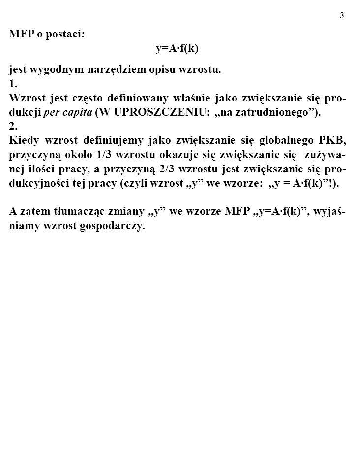 63 ZADANIE: Oto MFP w gospodarce typu Solowa: Y=C 0,25 L 0,75.
