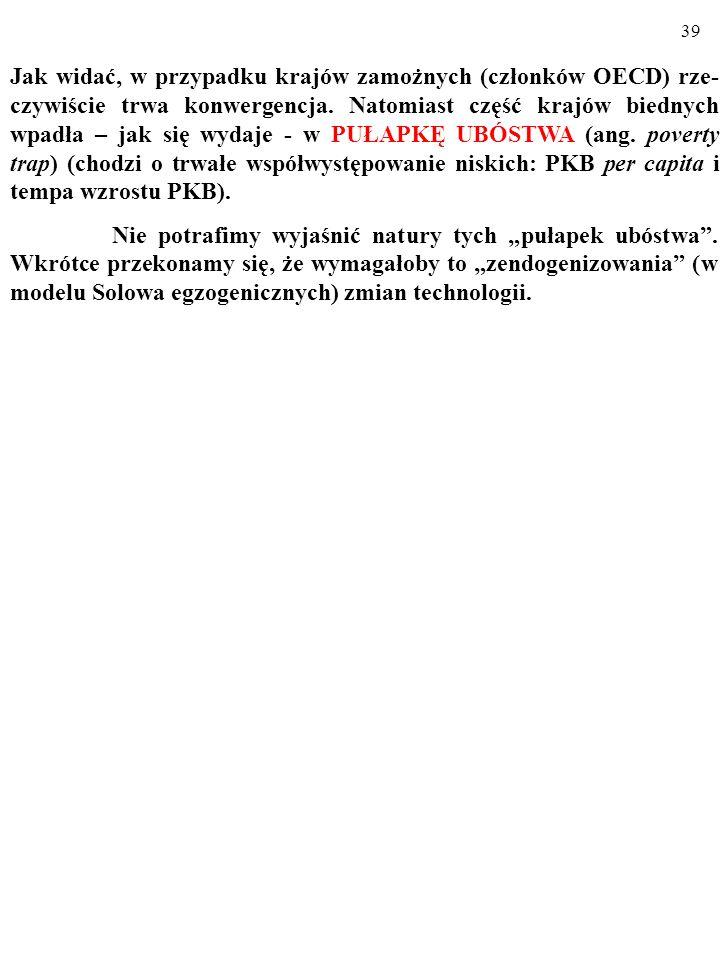 38 Czy rzeczywistość potwierdza, tę – wynikającą z modelu Solowa – prognozę? Oto dane empiryczne: (a) PKB na 1 mieszkańca (w tys. USD z 1960 r.) (b) P