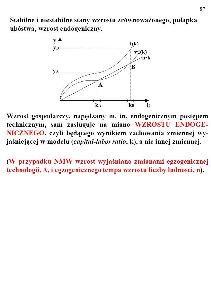 86 Kiedy zaś k przekracza poziom k B, rozpoczyna się coraz szybszy wzrost gospodarczy, napędzany m. in. endogenicznym postępem technicznym... Stabilne