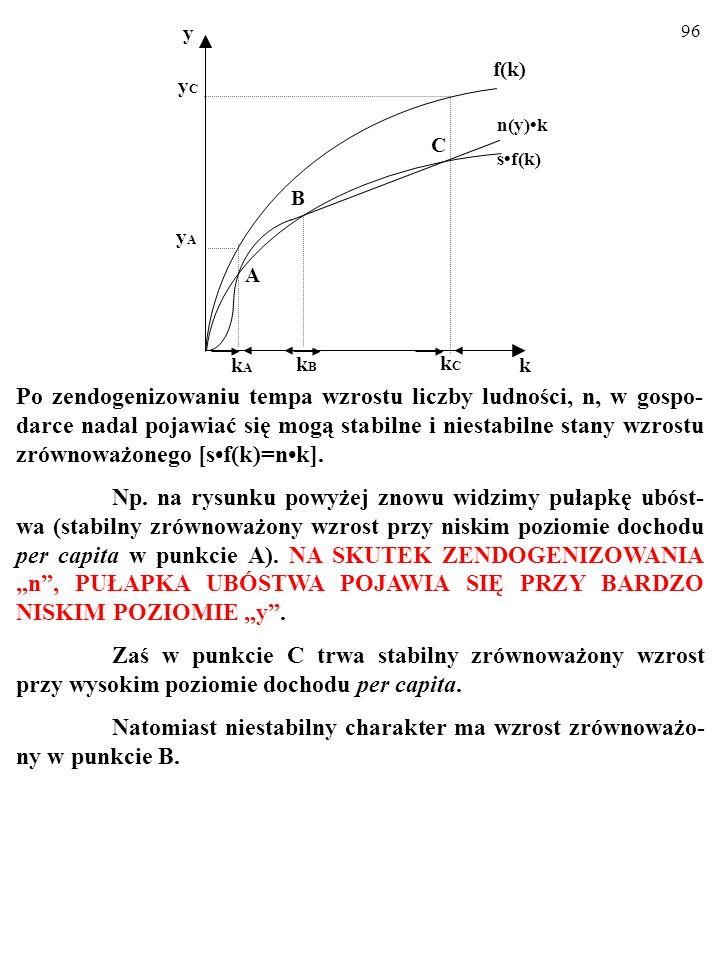 95 Po zendogenizowaniu tempa wzrostu liczby ludności, n, w gospo- darce nadal pojawiać się mogą stabilne i niestabilne stany wzrostu zrównoważonego [s