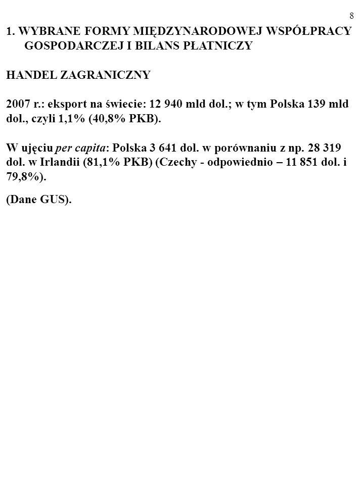 118 ZADANIE Przestudiuj bilans płatniczy Polski w 2001 r.
