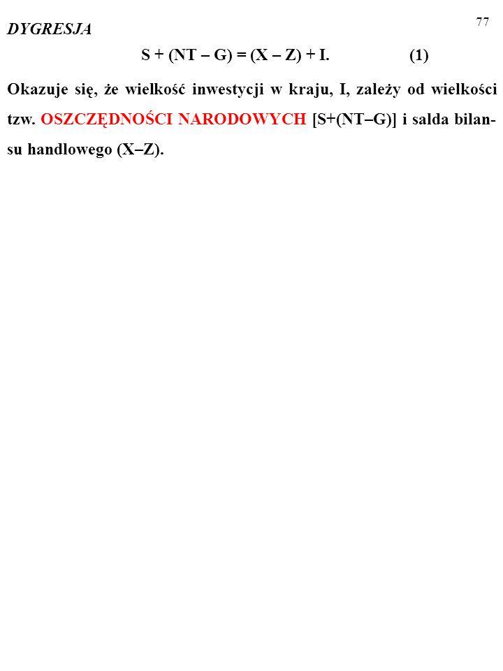 76 DYGRESJA INWESTYCJE A OSZCZĘDNOSCI NARODOWE I + G + X = S + NT + Z S + (NT – G) = (X – Z) + I.