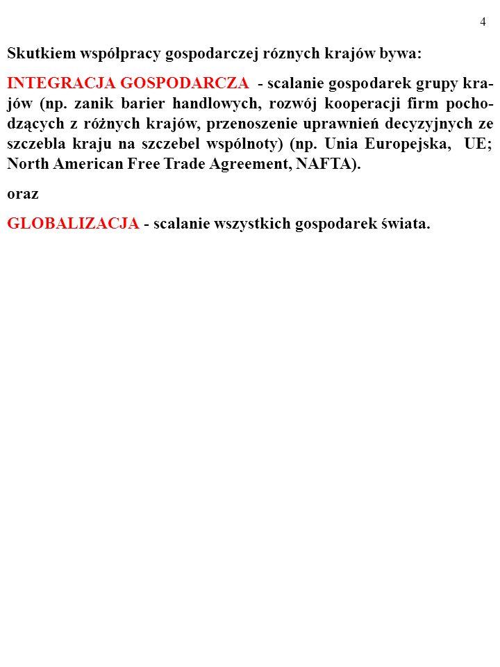 4 Skutkiem współpracy gospodarczej róznych krajów bywa: INTEGRACJA GOSPODARCZA - scalanie gospodarek grupy kra- jów (np.