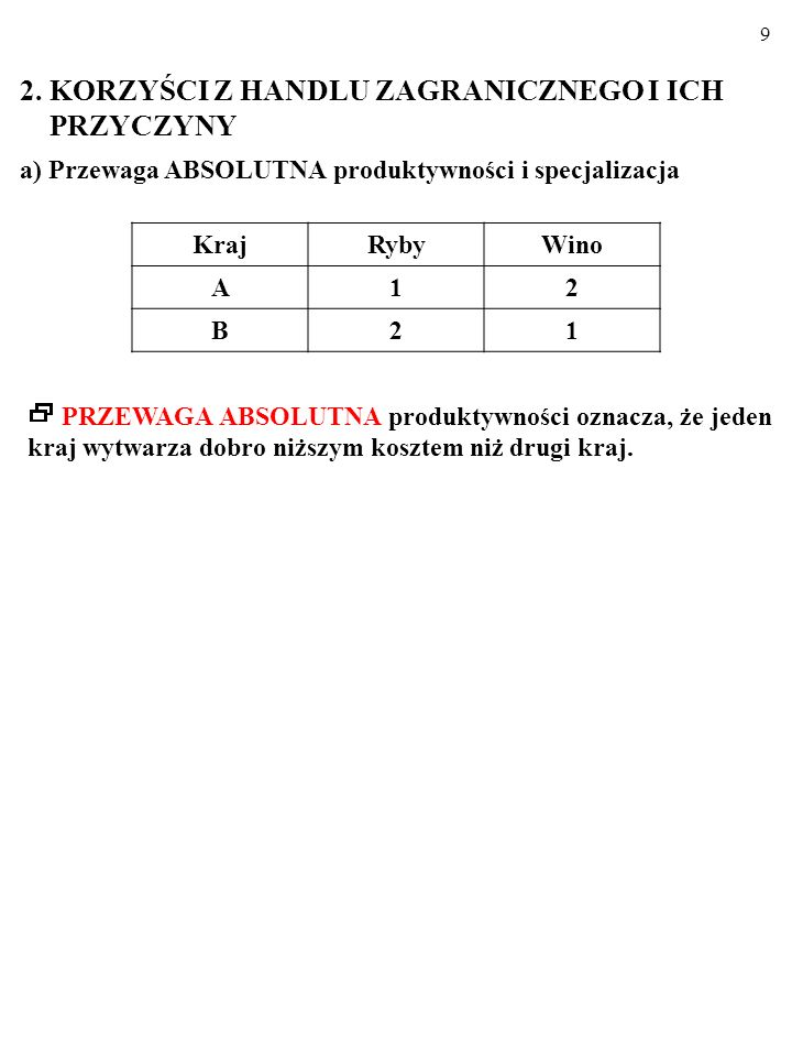 9 a) Przewaga ABSOLUTNA produktywności i specjalizacja KrajRybyWino A12 B21 PRZEWAGA ABSOLUTNA produktywności oznacza, że jeden kraj wytwarza dobro niższym kosztem niż drugi kraj.