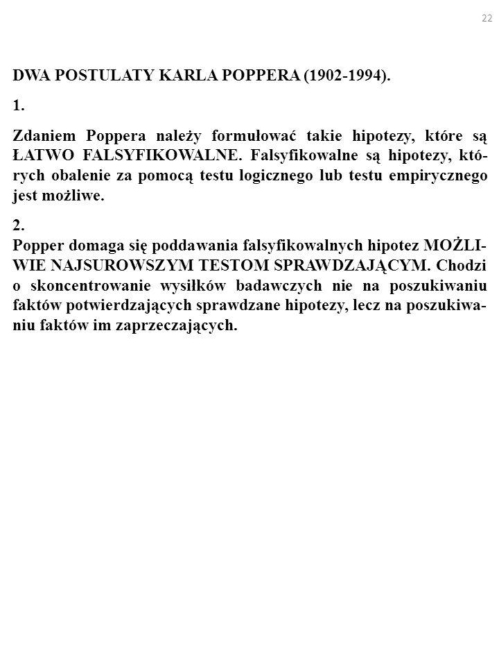 22 DWA POSTULATY KARLA POPPERA (1902-1994). 1. Zdaniem Poppera należy formułować takie hipotezy, które są ŁATWO FALSYFIKOWALNE. Falsyfikowalne są hipo