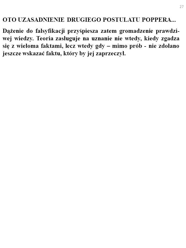 27 OTO UZASADNIENIE DRUGIEGO POSTULATU POPPERA... Dążenie do falsyfikacji przyśpiesza zatem gromadzenie prawdzi- wej wiedzy. Teoria zasługuje na uznan