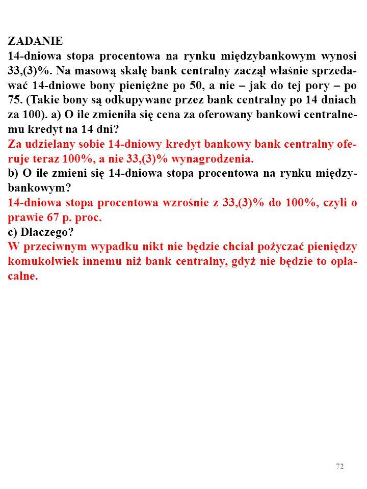 71 ZADANIE 14-dniowa stopa procentowa na rynku międzybankowym wynosi 33,(3)%.