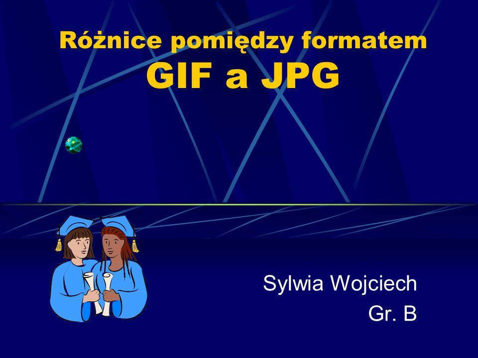 Różnice pomiędzy formatem GIF a JPG Sylwia Wojciech Gr. B