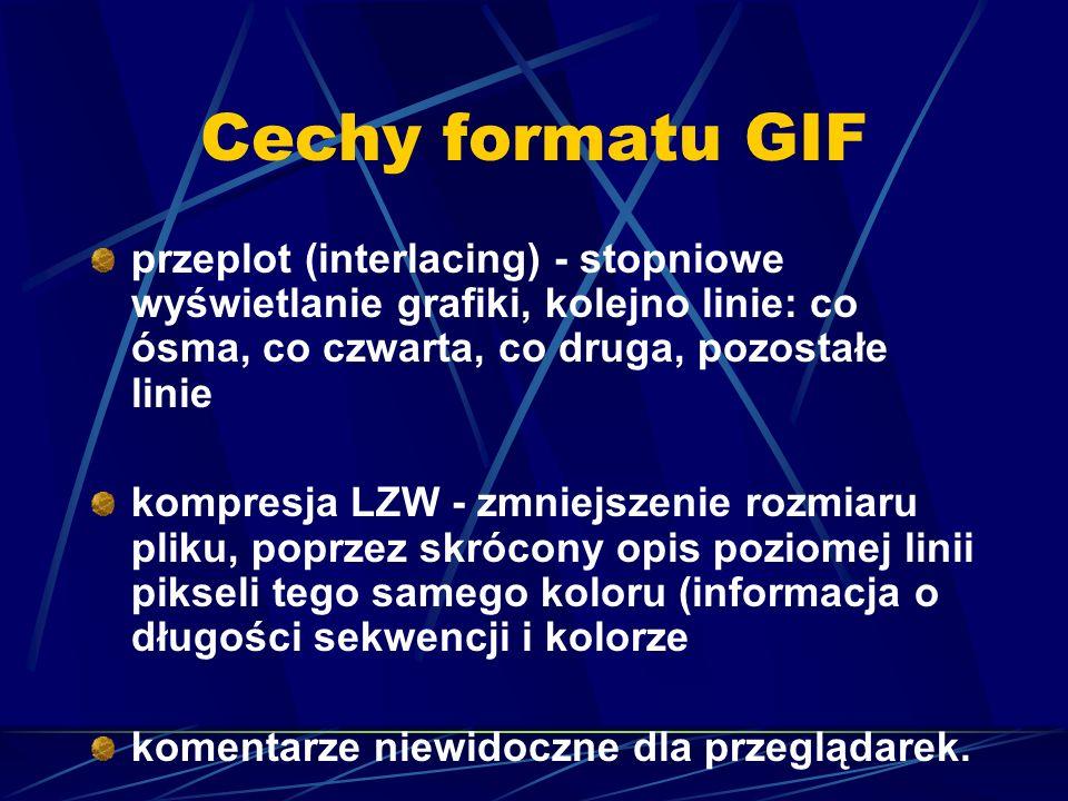 Cechy formatu GIF przeplot (interlacing) - stopniowe wyświetlanie grafiki, kolejno linie: co ósma, co czwarta, co druga, pozostałe linie kompresja LZW