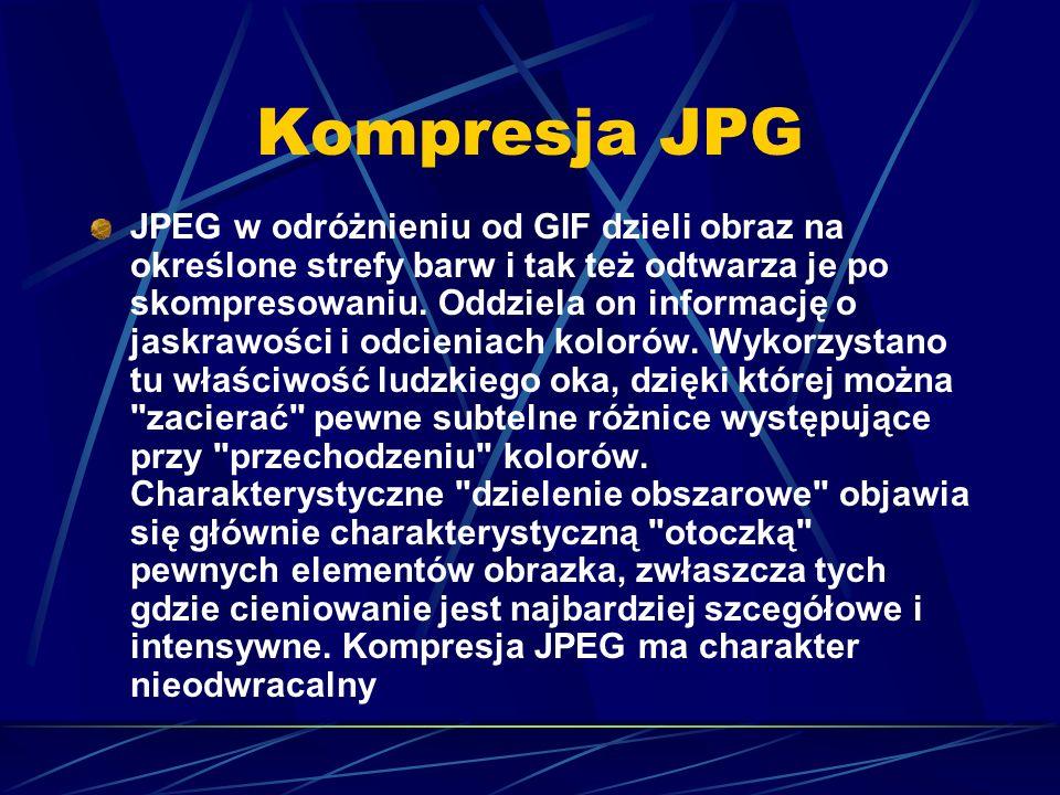 Kompresja JPG JPEG w odróżnieniu od GIF dzieli obraz na określone strefy barw i tak też odtwarza je po skompresowaniu. Oddziela on informację o jaskra