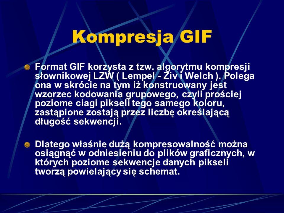 Kompresja GIF Format GIF korzysta z tzw. algorytmu kompresji słownikowej LZW ( Lempel - Ziv i Welch ). Polega ona w skrócie na tym iż konstruowany jes