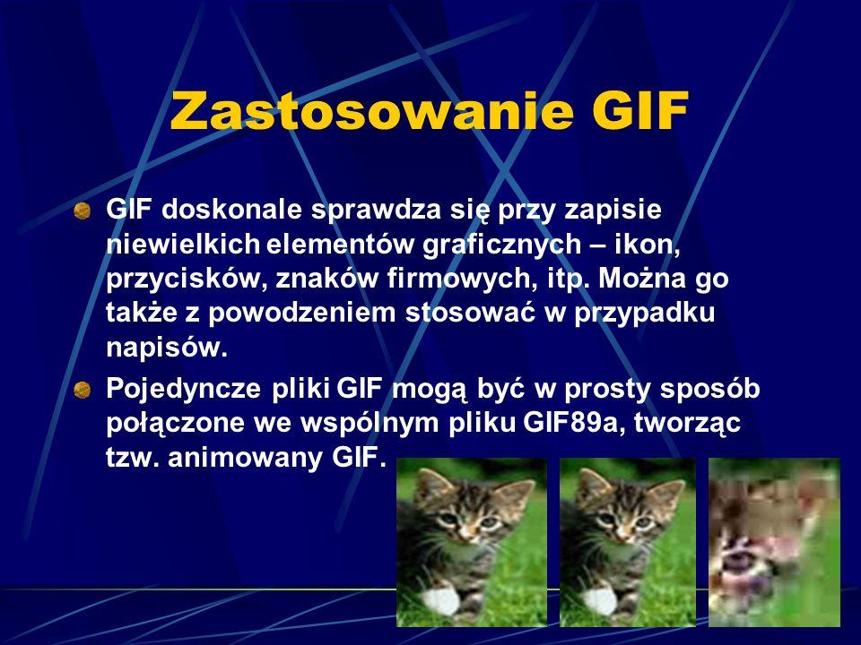 Zastosowanie GIF GIF doskonale sprawdza się przy zapisie niewielkich elementów graficznych – ikon, przycisków, znaków firmowych, itp. Można go także z