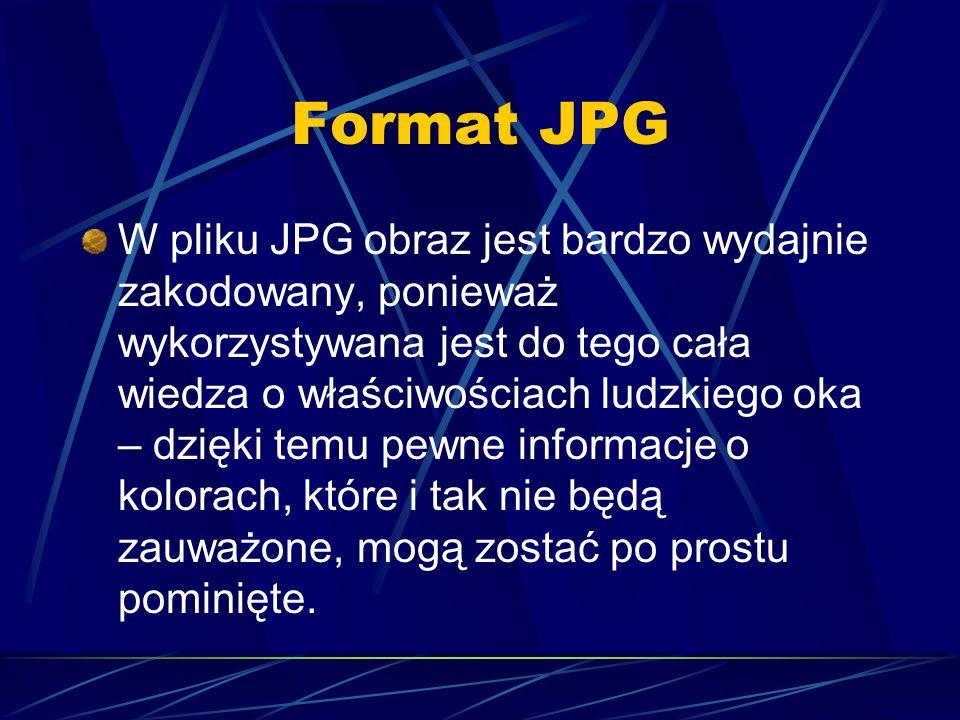 Format JPG W pliku JPG obraz jest bardzo wydajnie zakodowany, ponieważ wykorzystywana jest do tego cała wiedza o właściwościach ludzkiego oka – dzięki