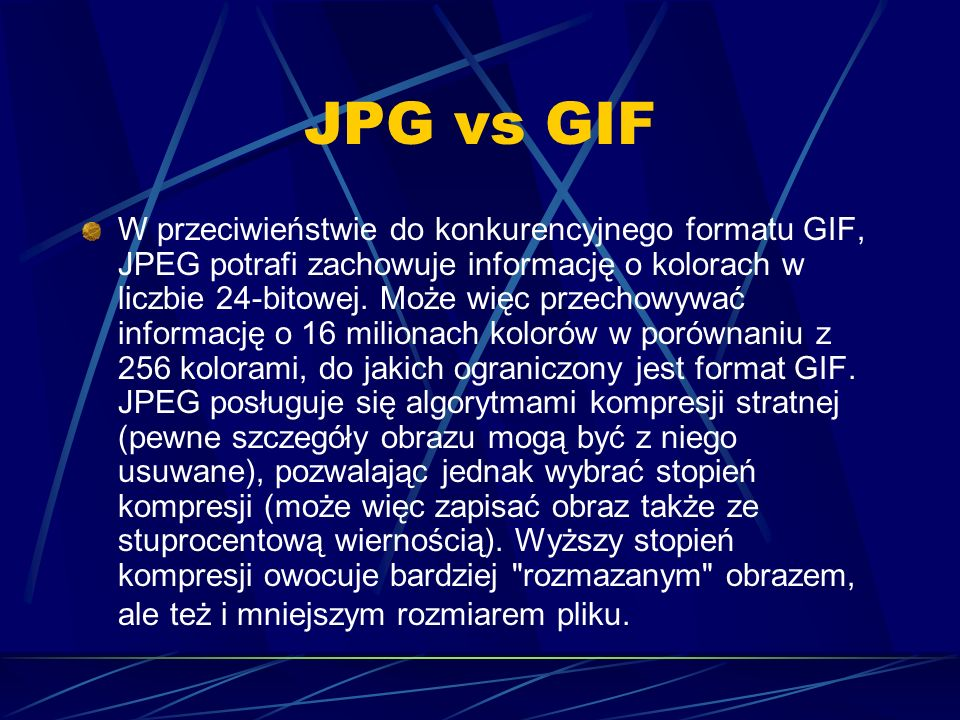 Jakość a rozmiar JPGa jakość 80% jakość 40% jakość 10% rozm.: 5,44 KB rozm.: 2,66 KB rozm.: 1,03 KB