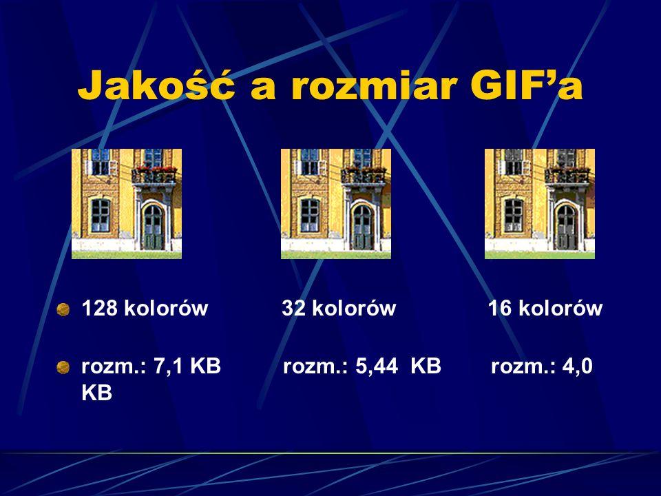 Jakość a rozmiar GIFa 128 kolorów 32 kolorów 16 kolorów rozm.: 7,1 KB rozm.: 5,44 KB rozm.: 4,0 KB