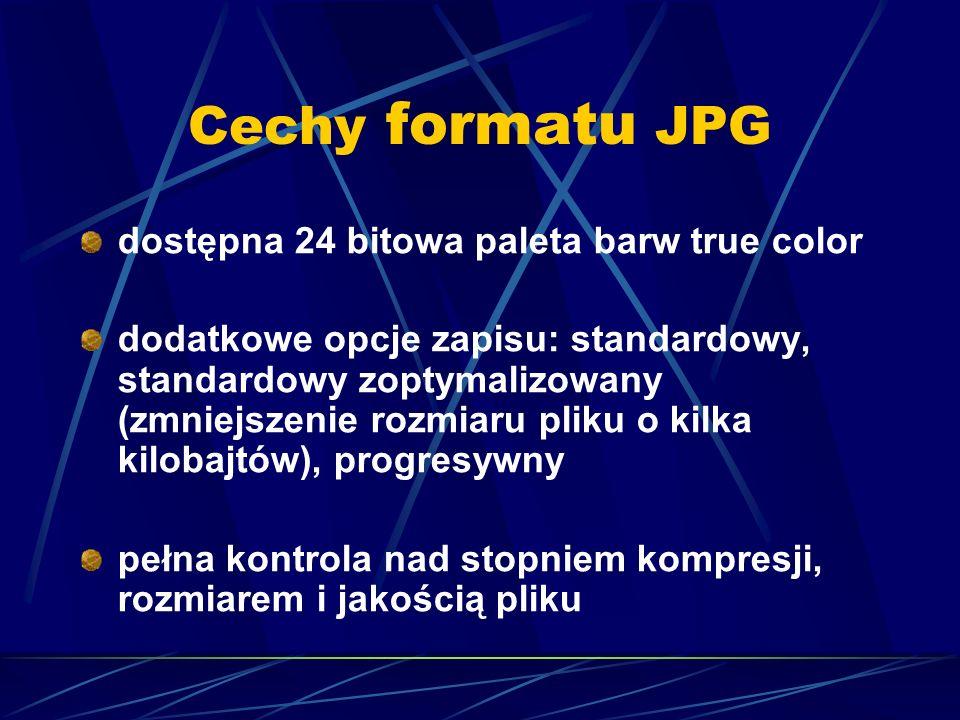 Cechy formatu JPG wyświetlanie obrazka w czasie pobierania przy włączonej funkcji progresywny (można określić, w ilu etapach pobierania obraz osiągnie pełną jakość) animacja - plik może zawierać kilka obrazów wyświetlanych po sobie w określonych z dokładnością do 1/100 sekundy odstępach czasu