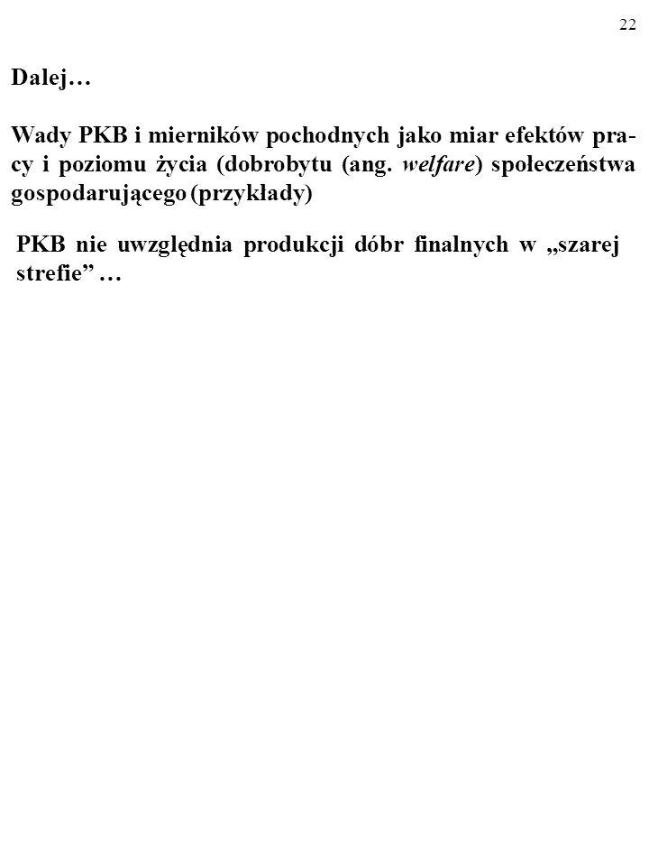 21 PKB per capita w Nowej Zelandii, Polsce i Indiach; kurs oficjalny (2002 r.) i kurs PPP (2000 r.) Źródło: Dane ONZ. Nowa Zelandia PolskaIndia Kurs o