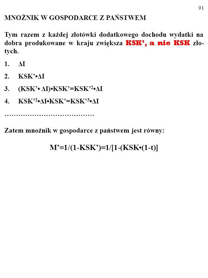 90 KSK = KSK(1-t). KSK<KSK, więc nachylenie wykresu funkcji konsumpcji w gospo- darce z państwem (a więc także nachylenie wykresu AE PL ), C PL = KSKY