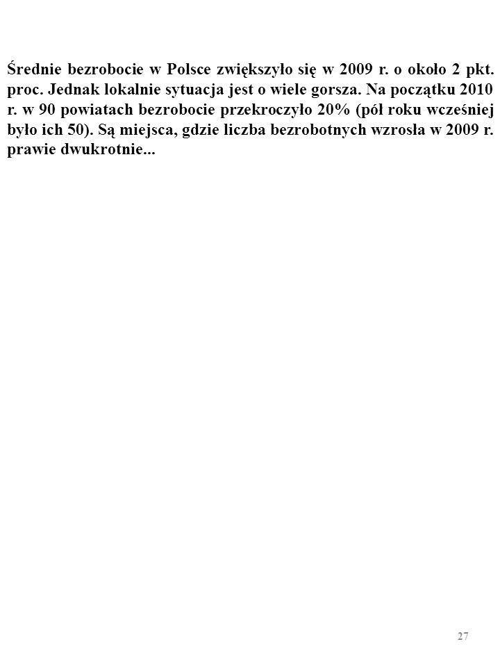 Z drugiej strony – w WARSZAWIE stopa bezrobocia równała się 3,4%, w POZNANIU – 3,5%, w SOPOCIE – 3,7%, w KATOWI- CACH – 3,8%, w KRAKOWIE – 4,7%, w GDA